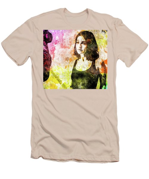 Men's T-Shirt (Slim Fit) featuring the mixed media Maria Valverde by Svelby Art