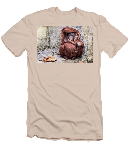 Mom And Baby Orangutan Men's T-Shirt (Slim Fit) by Stephanie Hayes