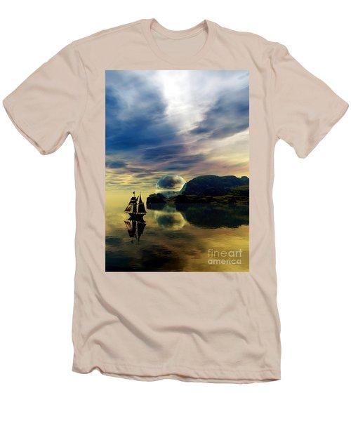 Reflection Bay Men's T-Shirt (Slim Fit) by Sandra Bauser Digital Art