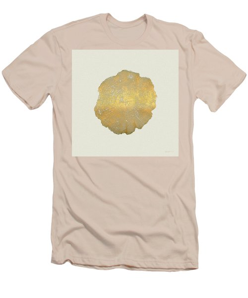 Rings Of A Tree Trunk Cross-section In Gold On Linen  Men's T-Shirt (Slim Fit) by Serge Averbukh