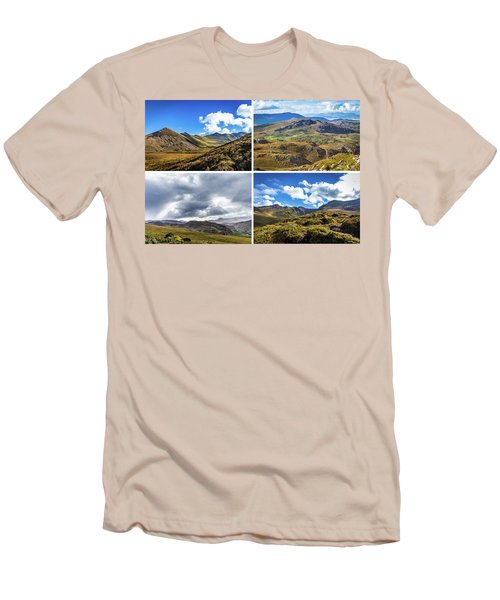 Men's T-Shirt (Slim Fit) featuring the photograph Postcard Of Rock Formation Landscape With Clouds And Sun Rays In Ireland by Semmick Photo