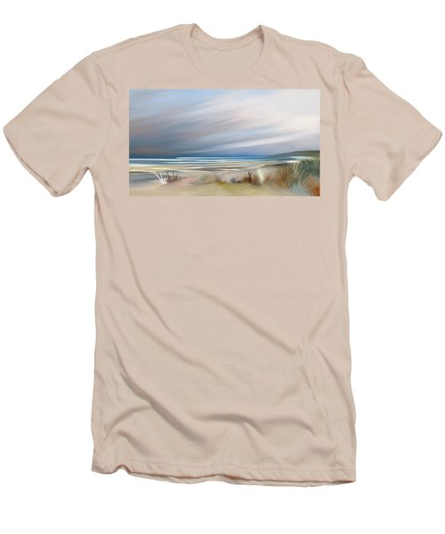 Storm Over Beach Men's T-Shirt (Slim Fit) by Anthony Fishburne