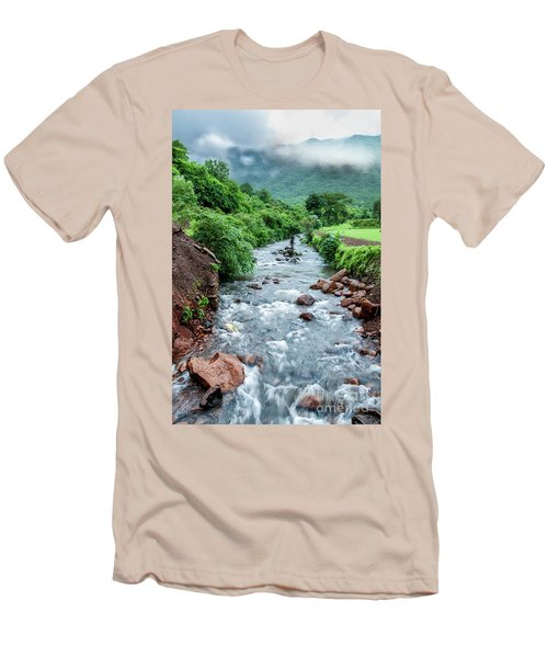 Men's T-Shirt (Slim Fit) featuring the photograph Stream by Charuhas Images
