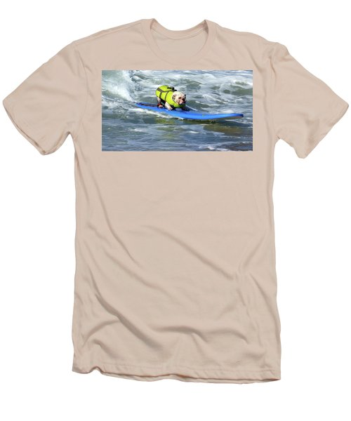Surfing Dog Men's T-Shirt (Athletic Fit)
