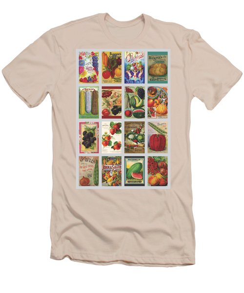 Vintage Farm Seed Packs Men's T-Shirt (Slim Fit) by Debbie Karnes
