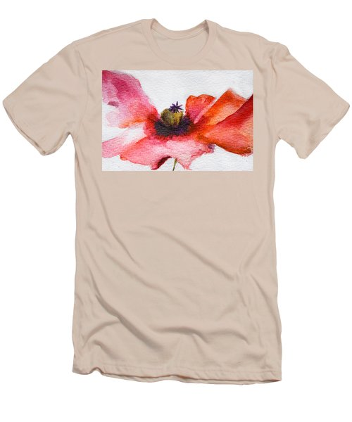 Watercolor Poppy Flower Men's T-Shirt (Athletic Fit)