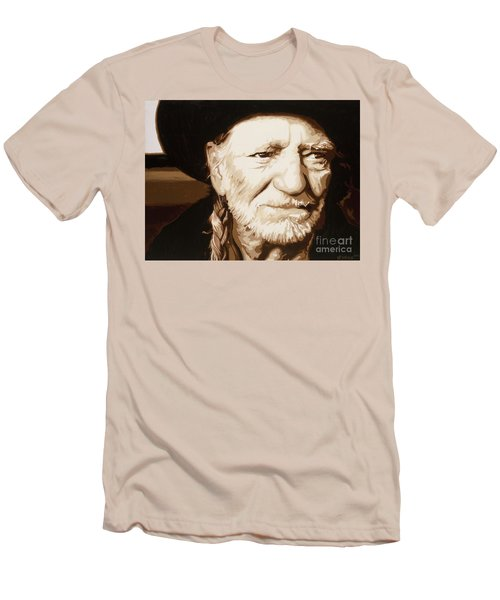 Men's T-Shirt (Slim Fit) featuring the painting Willie Nelson by Ashley Price