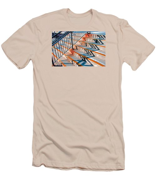 Zig Zag Shadows On Train Station Steps Men's T-Shirt (Athletic Fit)