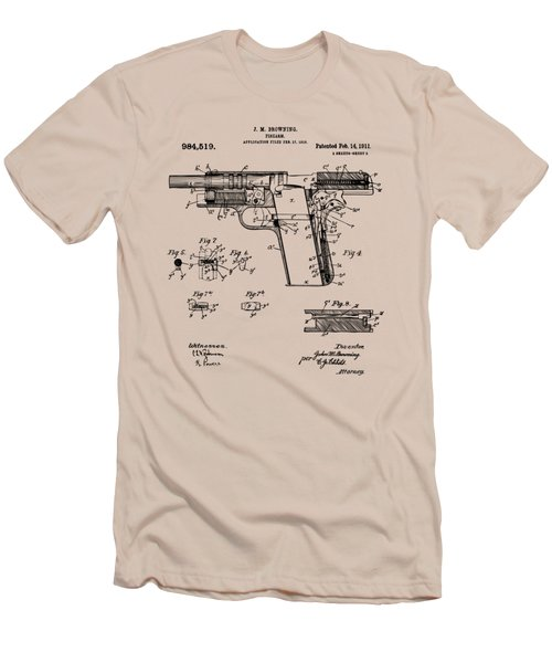 Men's T-Shirt (Slim Fit) featuring the drawing 1911 Colt 45 Browning Firearm Patent 2 Artwork Vintage by Nikki Marie Smith