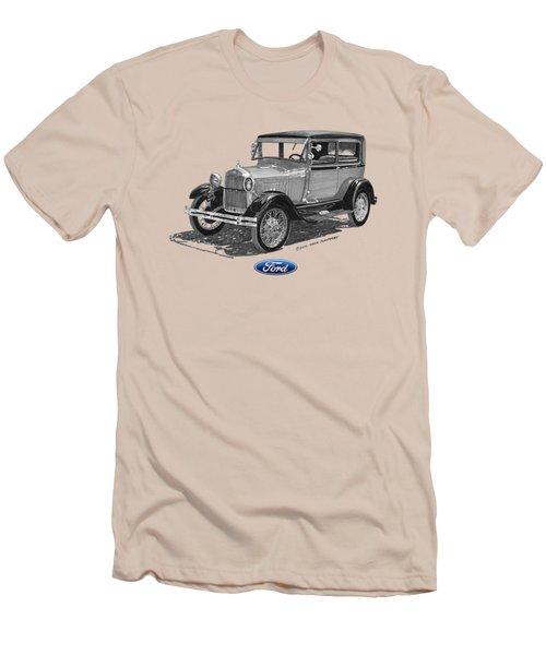 Model A Ford 2 Door Sedan Men's T-Shirt (Slim Fit) by Jack Pumphrey