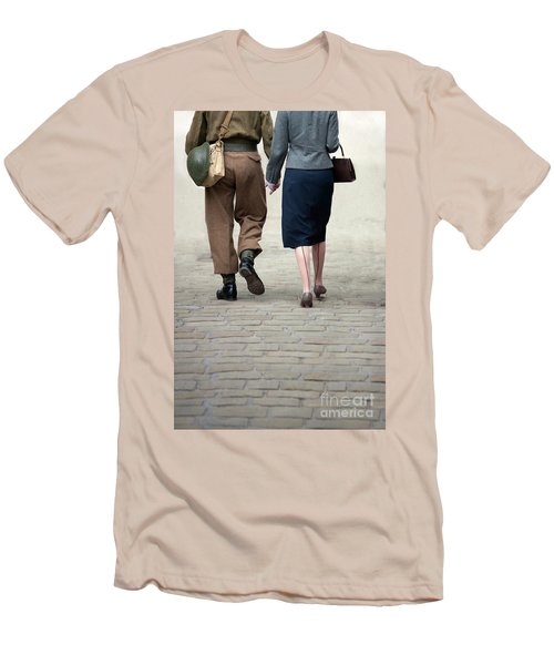 1940s Couple Soldier And Civilian Holding Hands Men's T-Shirt (Athletic Fit)