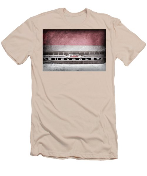 Men's T-Shirt (Slim Fit) featuring the photograph 1961 Chevrolet Corvair Pickup Truck Grille Emblem -0130ac by Jill Reger