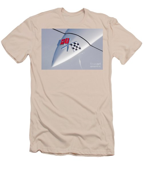 Men's T-Shirt (Slim Fit) featuring the photograph 1966 Corvette Hood Ornament  by Aloha Art