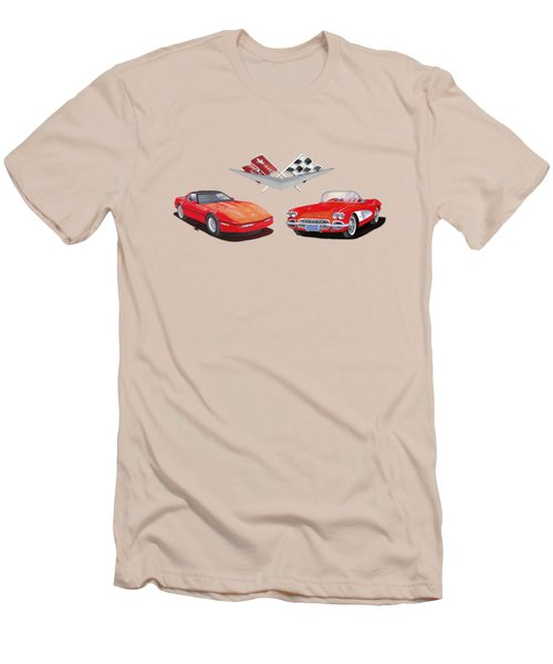 1986 And 1961 Corvettes Men's T-Shirt (Athletic Fit)