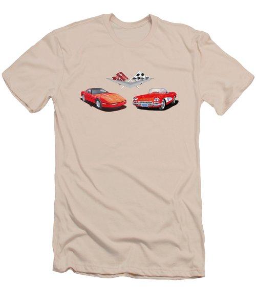 1986 And 1961 Corvettes Men's T-Shirt (Slim Fit) by Jack Pumphrey