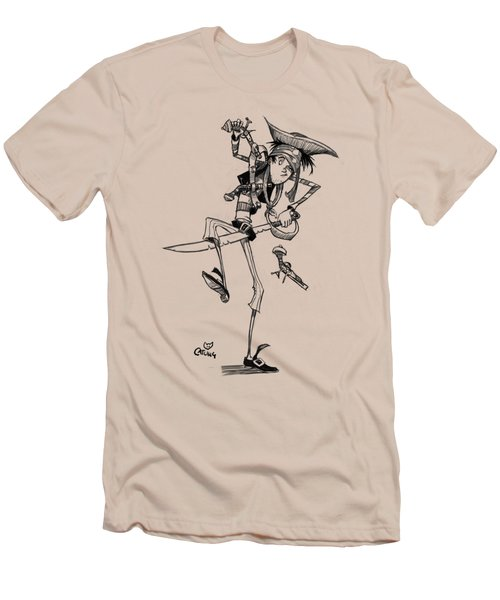 Clumsy Pirate Men's T-Shirt (Slim Fit) by Andy Catling