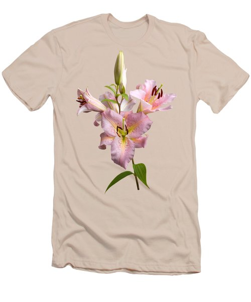 Pink Lilies On Cream Men's T-Shirt (Athletic Fit)