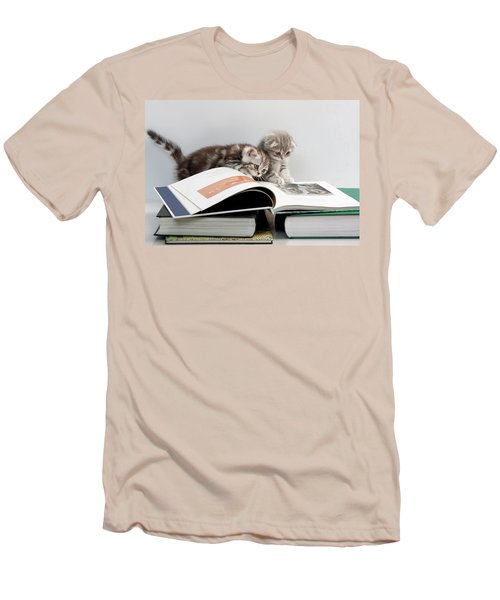 Men's T-Shirt (Slim Fit) featuring the photograph Scottish Fold Cats by Evgeniy Lankin