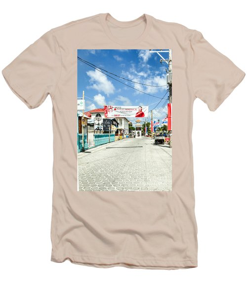 Street Scene Of San Pedro Men's T-Shirt (Slim Fit) by Lawrence Burry