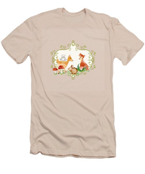 Woodland Fairytale - Animals Deer Owl Fox Bunny N Mushrooms Men's T-Shirt (Athletic Fit)