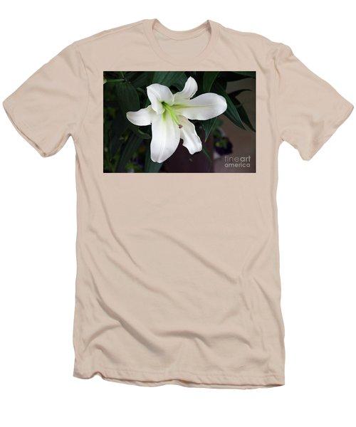 White Lily Men's T-Shirt (Slim Fit) by Elvira Ladocki
