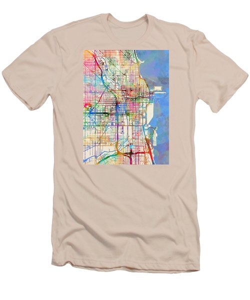 Chicago City Street Map Men's T-Shirt (Slim Fit)
