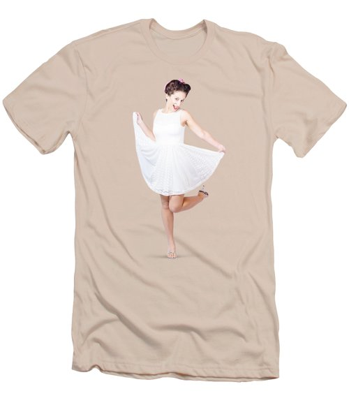 50s Pinup Woman In White Dress Dancing Men's T-Shirt (Slim Fit) by Jorgo Photography - Wall Art Gallery
