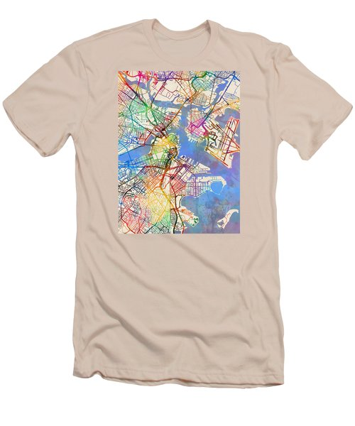 Boston Massachusetts Street Map Men's T-Shirt (Slim Fit)