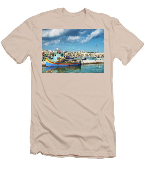 Marsaxlokk Harbour And Traditional Mediterranean Fishing Boats I Men's T-Shirt (Athletic Fit)
