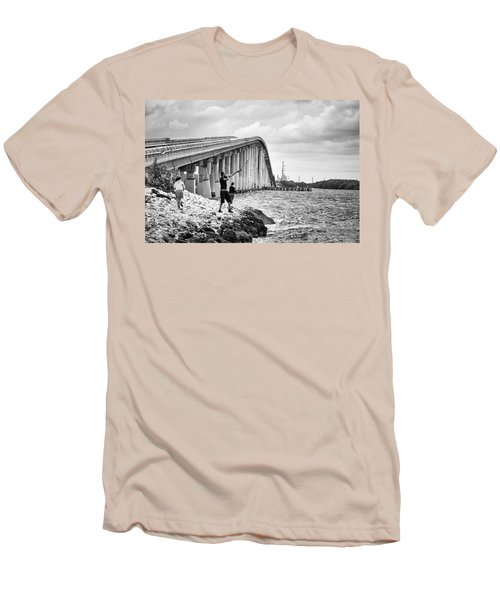 7 Mile Bridge B_w Men's T-Shirt (Athletic Fit)