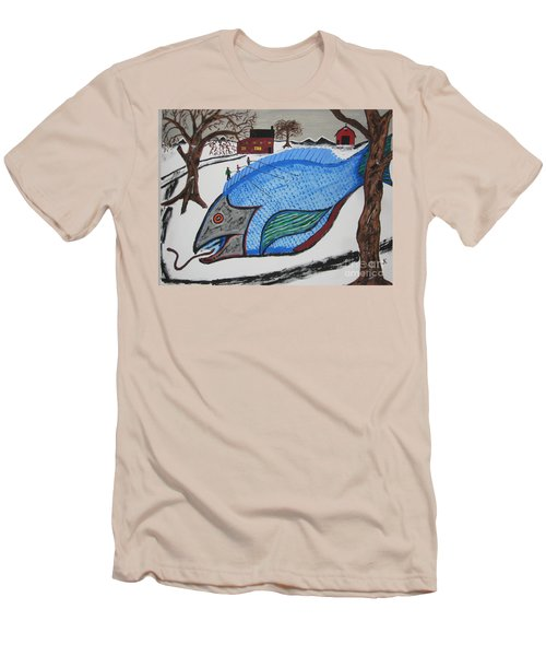 Men's T-Shirt (Slim Fit) featuring the painting A Big Fish Tale by Jeffrey Koss
