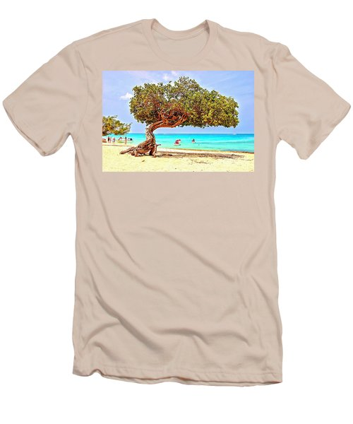 Men's T-Shirt (Slim Fit) featuring the photograph A Day At Eagle Beach by DJ Florek
