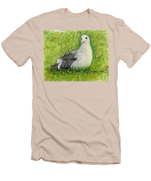 A Gull On The Grass Men's T-Shirt (Slim Fit) by Laurie Morgan
