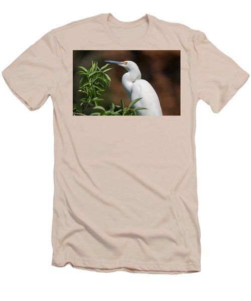A Resting Snowy Egret  Men's T-Shirt (Athletic Fit)