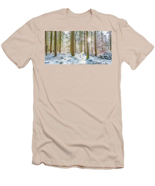 Men's T-Shirt (Slim Fit) featuring the photograph A Sunny Day In The Winter Forest by Hannes Cmarits
