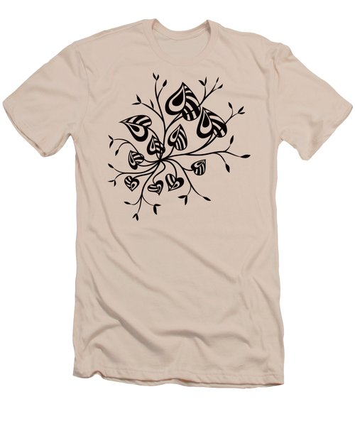 Abstract Floral With Pointy Leaves In Black And White Men's T-Shirt (Athletic Fit)