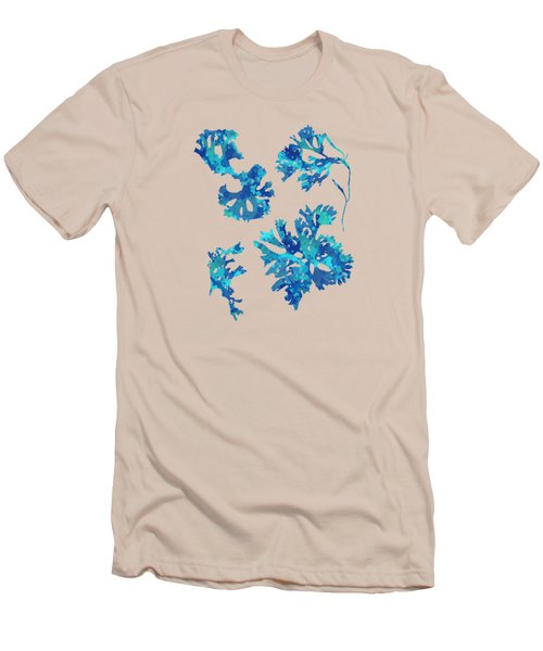 Men's T-Shirt (Slim Fit) featuring the mixed media Abstract Seaweed Art Rhodomenia Laciniata by Christina Rollo