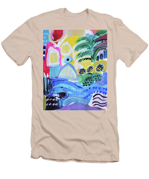Abstract Tropical Landscape Men's T-Shirt (Slim Fit) by Amara Dacer