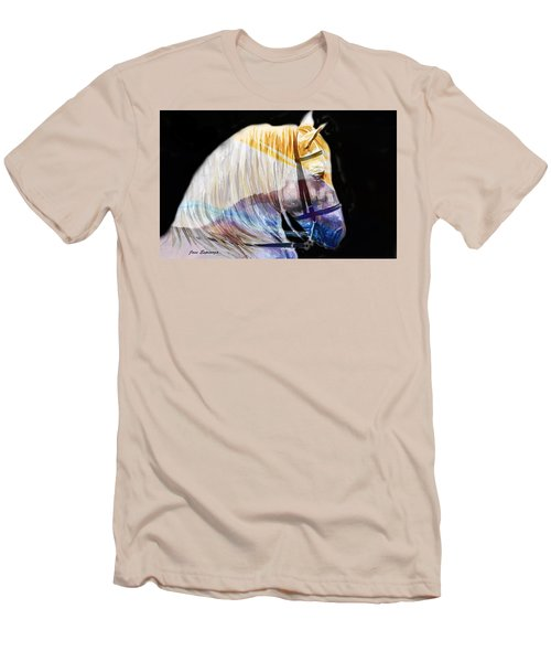 Men's T-Shirt (Slim Fit) featuring the painting Abstract White Horse 50 by J- J- Espinoza