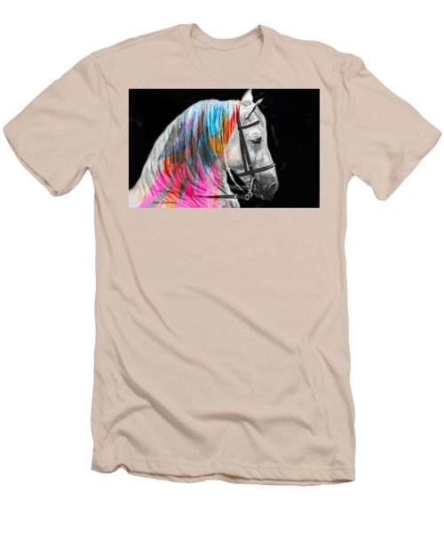 Men's T-Shirt (Slim Fit) featuring the painting Abstract White Horse 54 by J- J- Espinoza