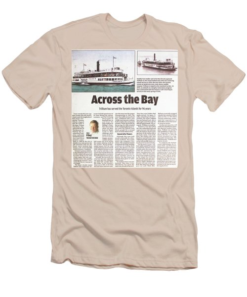 Men's T-Shirt (Slim Fit) featuring the painting Toronto Sun Article Across The Bay by Kenneth M Kirsch