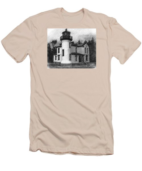 Admiralty Head Lighthouse Sketched Men's T-Shirt (Slim Fit) by Kirt Tisdale