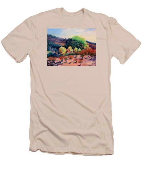 Men's T-Shirt (Slim Fit) featuring the painting Along The Highway by Marcia Dutton