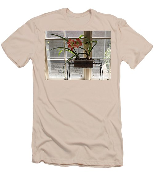 Men's T-Shirt (Slim Fit) featuring the photograph Amaryllis And Window by Nancy Kane Chapman