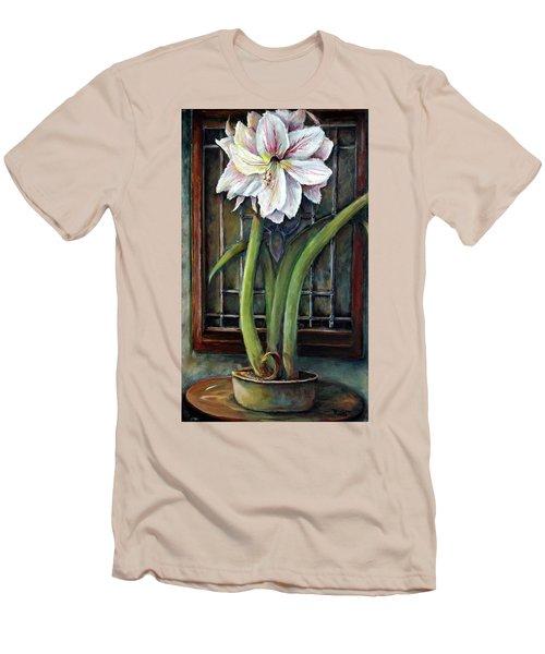 Amaryllis In The Window Men's T-Shirt (Slim Fit) by Bernadette Krupa