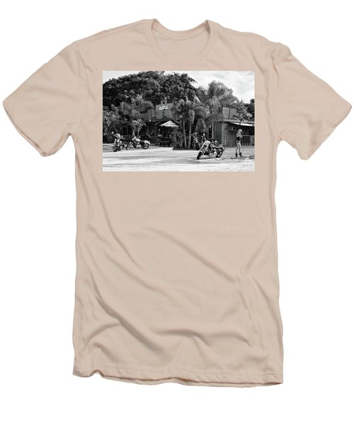 Men's T-Shirt (Athletic Fit) featuring the photograph American Roadhouse Bw by Laura Fasulo