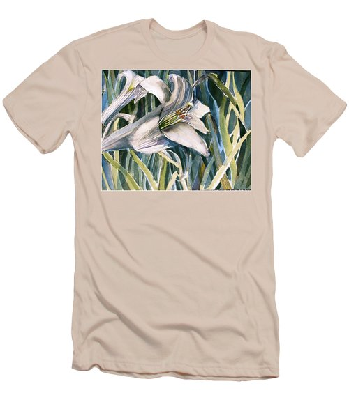 Men's T-Shirt (Slim Fit) featuring the painting An Easter Lily by Mindy Newman