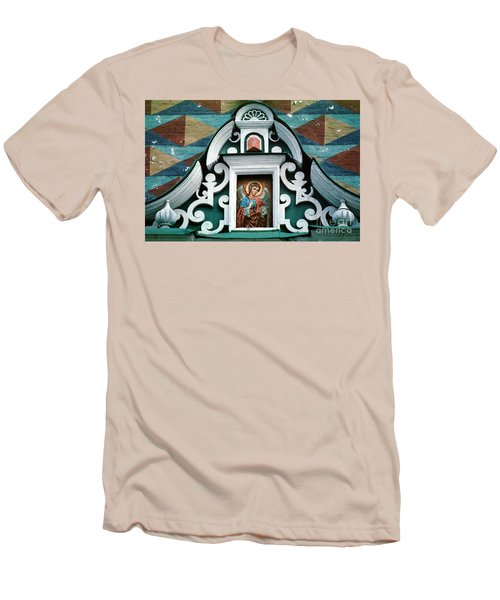 Angel Icon At Trinity Lavra Of St. Sergius Monastery Men's T-Shirt (Slim Fit) by Wernher Krutein