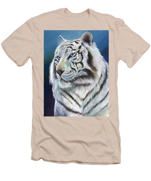 Men's T-Shirt (Slim Fit) featuring the painting Angel The White Tiger by Sherry Shipley