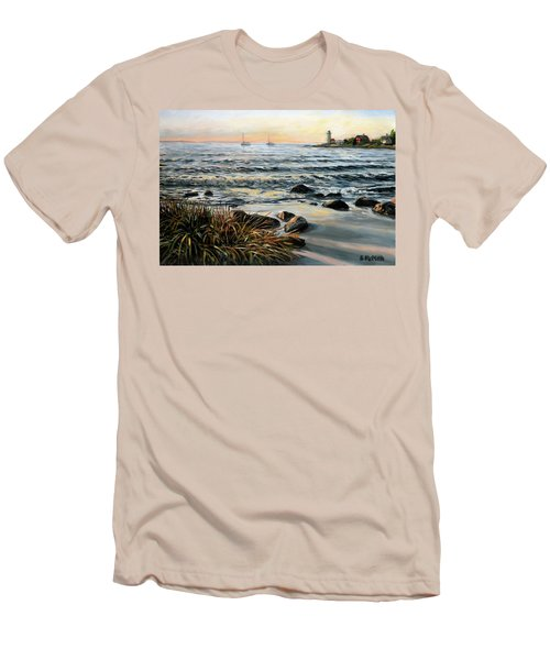 Annisquam Beach And Lighthouse Men's T-Shirt (Athletic Fit)